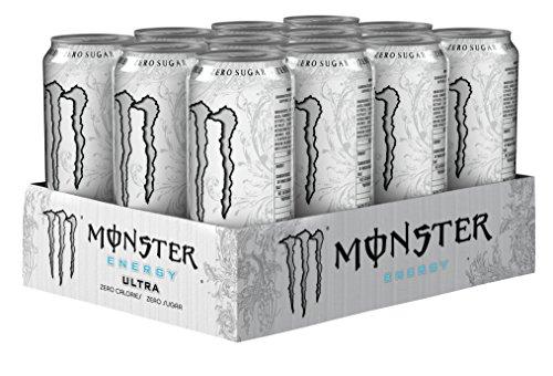 Monster - Energy Ultra - Energy Drink - 12 confezioni - 500 ml per confezione - Booster energetico - Meno dolce - Pií¹ leggero nel gusto - Senza calorie - Alta caffeina