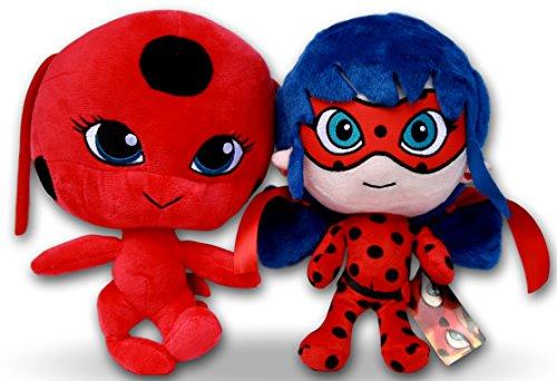Miraculous Packung 2x Plüschtiere Superheldin Ladybug & Tikki 27cm Plüsch Marinette und Kwami Marienkäfer Stofftier