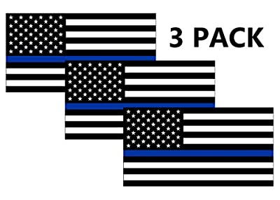 Thin Blue Line Blue Lives Matter Flag Sticker Vinyl Decal for Car Truck Window Bumper Sticker Support of Police and Law Enforcement Officers ((3 Pack) 3x5)