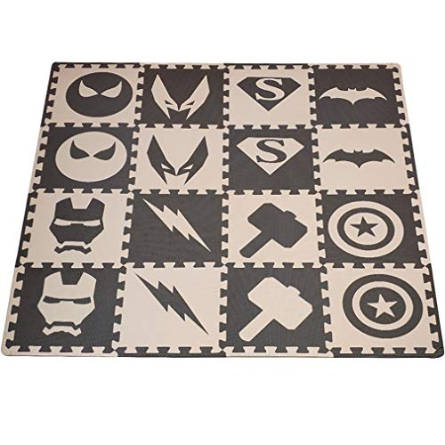Jigsaw foam matten 16st / set baby Play Mat, EVA Foam Rug for Kids, Soft elkaar verbindende Tegels, de kinderkamer Vloer Vloerbedekking nElke: 32x32cm vrije rand Veelkleurig