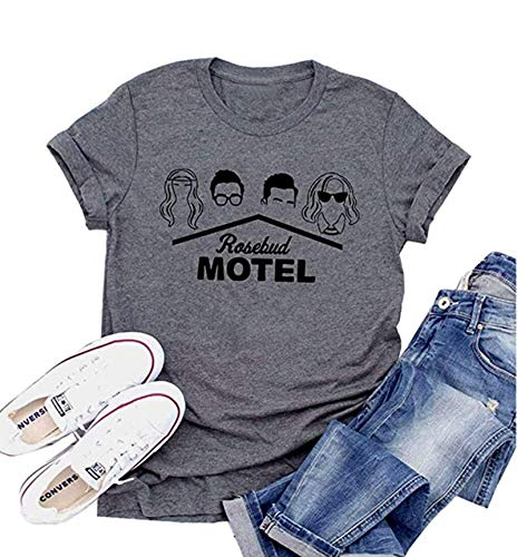 Rosebud Motel T-Shirts for Women Sleeve Graphic Printed Tshirt Funny Tee Tops Round Neck Women Clothes (Dark Gray, Large)