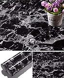 Yancorp Black Granite Wallpaper Marble Paper Counter Top Film Vinyl Self Adhesive Peel-Stick Wallpaper (18' x 394')