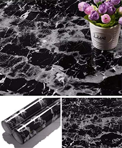 Yancorp Black Wallpaper Black Peel and Stick Wallpaper Marble Counter Top Stick on Film Backsplash Self Adhesive Wallpaper (Black, 17.8'x78.7')