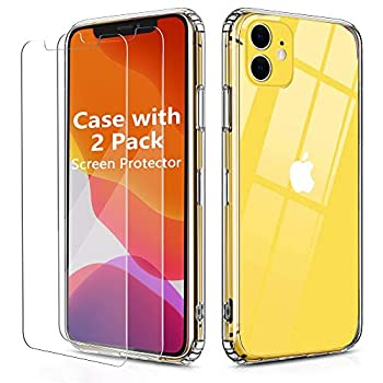 OULUOQI Compatible with iPhone 11 Case Tempered Glass Screen Protector [2Pack] with Shockproof Clear Case for iPhone 11 6.1 inch