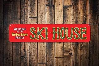 HarrodxBOX Ski House Sign Personalized Welcome Ski Lodge Sign Custom Family Name Sign Metal Family Ski Lodge Decor Metal Sign for Home Wall Art Decor Post Plaque for Women Men