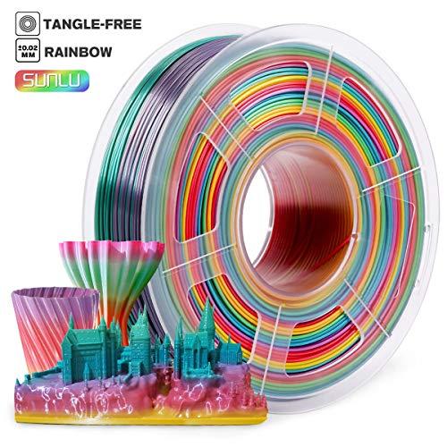 d Printer Filament 1.75mm,PLA Filament 1KG Spool,Rainbow Multicolor,SUNLU PLA