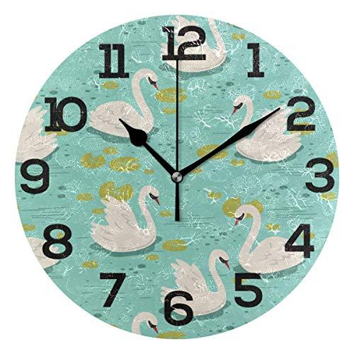 Reloj de Pared Patrón de Cisne Blanco Nadar en la Piscina Reloj de acrílico Redondo Azul Números Grandes Negros Reloj silencioso sin tictac Pintura Decorativa Reloj con Pilas para e School Hotel Libr