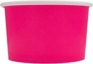 50 Count Pink Paper Ice Cream Cups - 4 oz Small Dessert Bowls - Comes In Many Colors & Sizes! Frozen Dessert Supplies