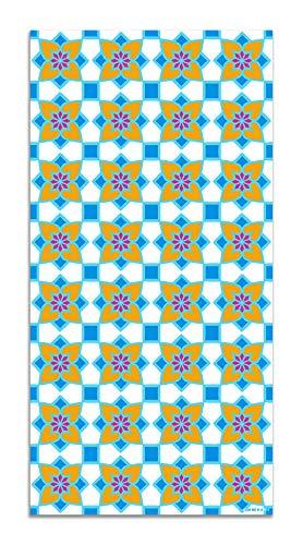 Panorama Agatha Ruiz de la Prada Alfombra Vinílica Hidráulico Azul Baldosas Flores 60x110cm - Alfombra Cocina Vinilo - Alfombra Salón Antideslizante e Ignífuga - Alfombras Grandes - Alfombras PVC