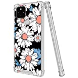 LSL Compatible with Google Pixel 4a 5G/5 XL Clear Shock Absorption Shockproof Bumper Cover with Daisy Wallpaper
