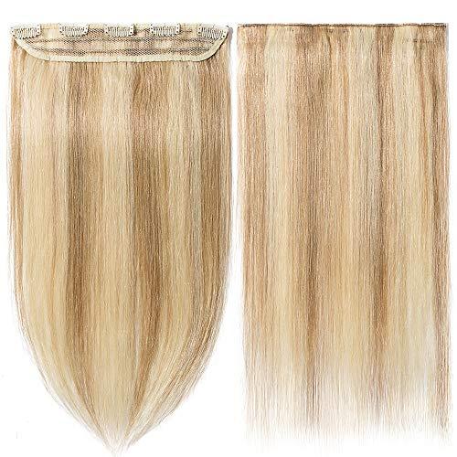 Extensions Echthaar Clips In 1 Stück 100% Remy Echthaar Haarverlängerung (40cm-45g #12/613 Hellbraun/Hell-Lichtblond)