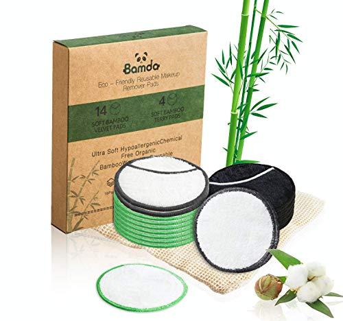 Waschbare Abschminkpads Wiederverwendbare Wattepads aus Bambuskohle und Bambusfasern, 18 Stück Wiederverwendbare Wattepads mit Netz-Wäschesack Sanft Makeup Entferner Pads für Saubereres Gesicht