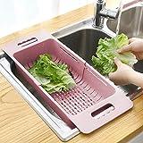 WEIHONG Estante ajustable del plato de drenaje Escurridor fregadero cesta que se lava la legumbre de fruta de plástico Tendedero (Caqui) WEIHONG (Color : Khaki)