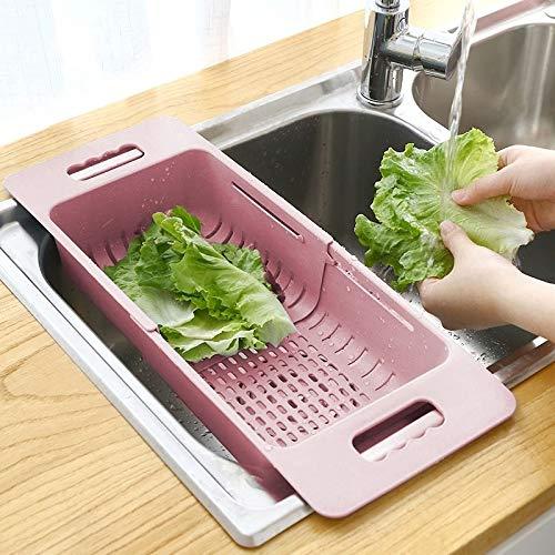 XGQ Escurridor de platos ajustable, cesta de drenaje para lavar vegetales, frutas y verduras, escurridor de plástico (Khaki) (color caqui)