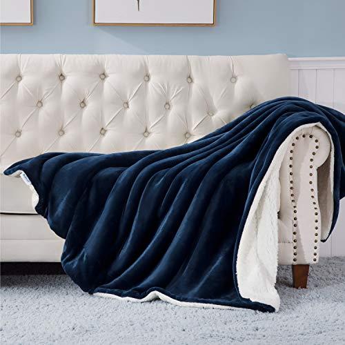 BEDSURE Sherpa Fleece Blanket Throw Size Navy Blue Plush Throw Blanket Fuzzy Soft Blanket Microfiber