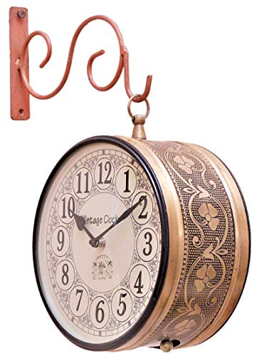 Vintage Clock Double Side Iron Wall Clock / 8 Inches Size / 1 Year Warranty