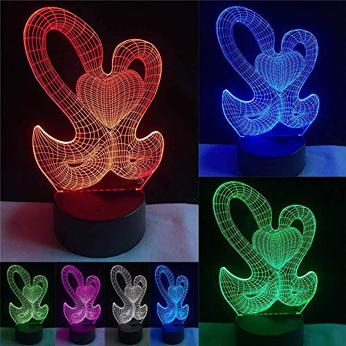 3D LED-Dildo Swans mit Love Heart 7 Farben ändern Visual Night Light Valentine S Day Gifts for Sweetheart Lover