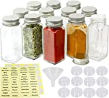 Simple Houseware 12-Pack 4 Ounce Square Spice Bottles w/label