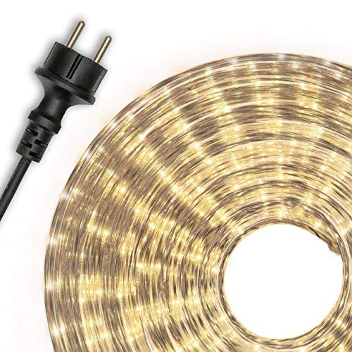 Dilego 20m Microlichter Lichterschlauch Lichtschlauch warm-weiß – Innen- und Außenbereich – Licht-Dekoration für Garten Fest Weihnachten Hochzeit Gesamtlänge ca. 21,50 m