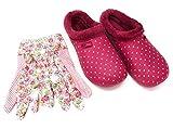 Angro Zuecos y pantuflas para mujer con los guantes de jardín a juego, color rosa con pelo, color Rosa, talla 37 EU
