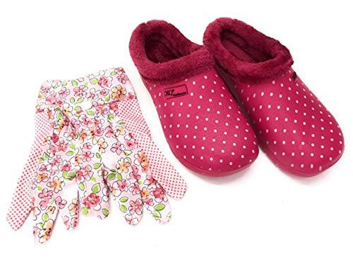 Angro - Zoccoli da donna con guanti da giardino rosa con pelliccia, Rosa (rosa.), 39 EU