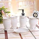 Juego de Accesorios de Baño de Cerámica Baño de cerámica de Estilo Europeo de Cinco Piezas de China de China. Fácil de Limpiar (Color : White, Size : One Size)