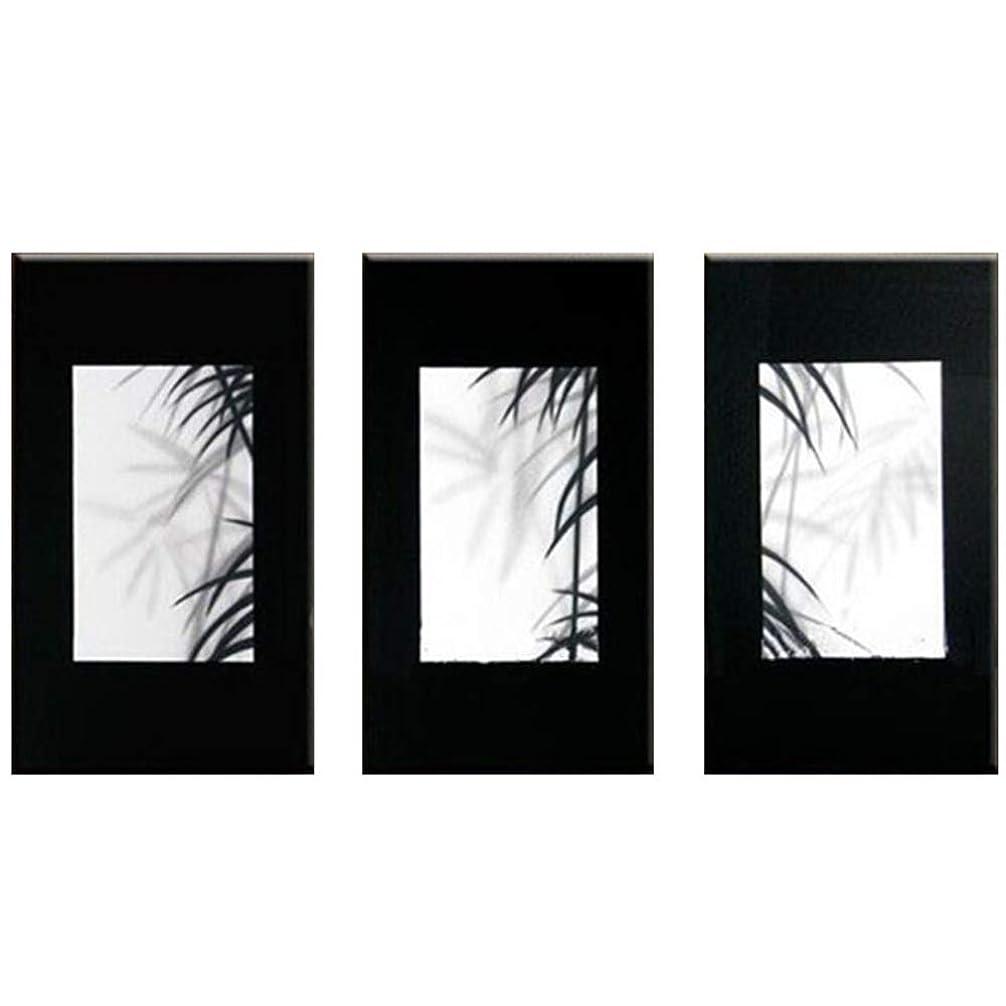 リングレット写真を撮る余裕がある写真現代ホームPEINTURE絵画キャンバス3パネルの壁面への手描き抽象ホワイト?ブラックの油彩画,35x70cmx3