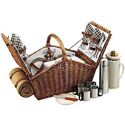 Picnic at Ascot Huntsman English-Style Willow Picnic Basket with Service for 4, Coffee Set and Blanket- Designed, Assembled & Quality Approved in the USA