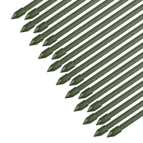 Sekey Soportesde Planta,Cañas jardín, Estantes de Planta,Estacas de Planta,Tubo de Acero Recubierto de plástico 8 mm de diámetro, Paquete de 20 de 75 cm de Largo.