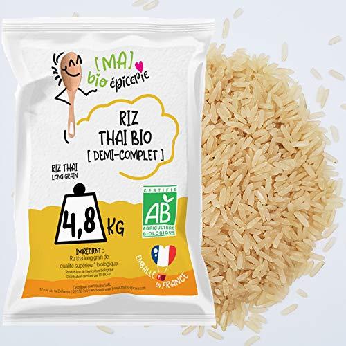 [Ma] bio-épicerie | Riz thaï demi complet BIO | 4,8 Kg | Sachet vrac | Certifié biologique | Parfumé, arôme subtil, texture ferme et légère |Idéal pour curry de viandes, légumes ou poissons