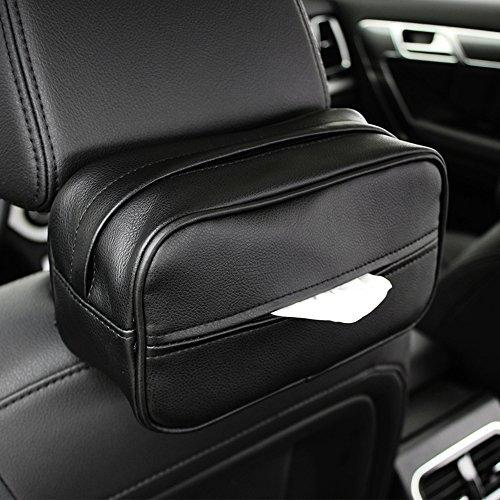 INEBIZ Luxury Leather Car Sun Visor Tissue Case Holder Paper Towel Bag Cover, Back Seat Headrest Hanging Napkin Clip