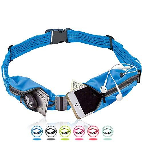 Cinturón de Correr Athlé -Bolsillo de Almacenamiento para Móvil, Llaves y Monedero Ajustable para Footing y Deporte -Banda Reflectante de 360, Agujero para Auriculares - Compatible con iPhone Plus