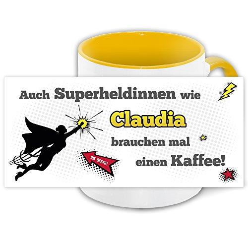 Namens-Tasse Claudia mit Superheldinnen-Motiv für Kaffeetrinker, gelb/weiss