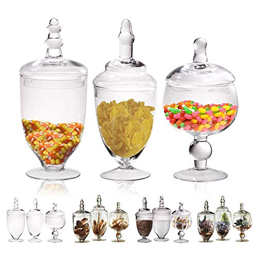 Small Glass Apothecary Jars with Lids, 3-PC Kitchen Canisters 8/9/11-inch , Bathroom Organizers, Decorative Storage Containers For Cookie & Candy Buffet, Home, Party & Wedding Centerpiece, Gift Idea