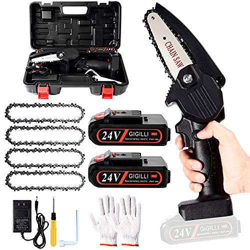 2021 Upgraded Mini Chainsaw With 2 Batteries 4 Chain, 4-Inch Cordless Mini Chainsaw Battery Powered with Safety Lock, One-Hand Use 1.7lb Portable, Handheld Small Mini Electric Chainsaw