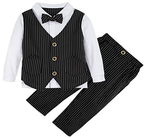 A&J DESIGN Säugling Jungs Outfits Formell Passen Setzt (Schwarz, 3-4 Jahre)