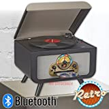Bluetooth Entertainment Center iTrak BT5017 Retro 4-in-1 Stereo, AM/FM Radio 3 Speed Turntable, Top Loading, Bluetooth Connectivity, Dynamic Stereo Speakers