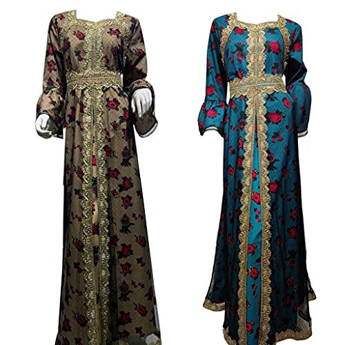 unknows Eid Mubarak abito turco vestito, Ramadan arabo Dubai etnico maxi abito ricamo kaftano musulmano abito in maglia floreale