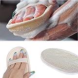 Esponja exfoliante natural para el cuerpo, hecha con esponja de luffa ecológica y biodegradable, lufa para mujeres y hombres, beige