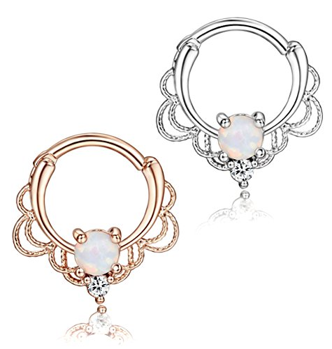 ORAZIO 2-8PCS 16G Stainless Steel Nose Ring Septum Hoop Opal Body Piercing Clicker Ring