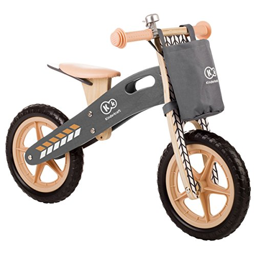 Kinderkraft - Bicicletta senza pedali Runner, in legno, per bambini, con maniglia, borsa per piccoli oggetti e campanello, ruote da 12 pollici, a partire da 3 anni, colore: naturale
