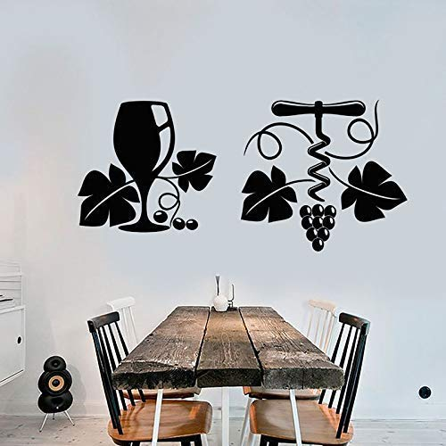 YHKZGM Grape Vine Wine Wine Glass Corkscrew Vinyl Wall Stickers Home Decoration Bar Decals Removable...
