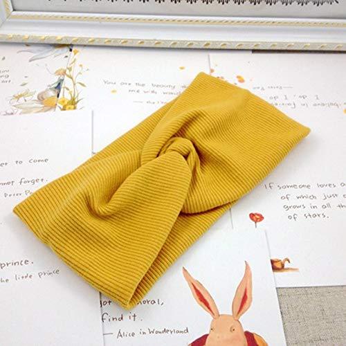 Cinta elástica para el pelo con cruz de lana y nudos, para mujeres, suave, color amarillo
