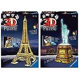 Ravensburger Puzzle Building 3D Night Edition: Estatua de la Libertad (12596), Color, Modelo Surtido + 3D Puzzle Building Tour Eiffel Night (12579 1), Color, Modelo Surtido