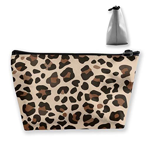 Multi-Functional Print Trapezoidal Storage Bag for Female Leopard Skin