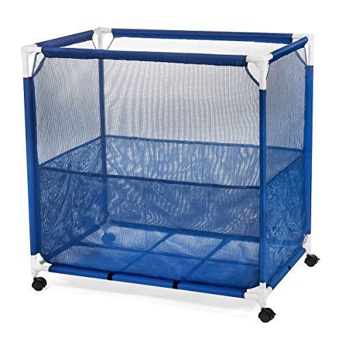 Pool Storage Bin – Rolling Poolside Mesh Container for Toys – Waterproof UV Resistant Outdoor Organizer Box with Bonus Mesh Bag Medium Size 36 x 36 x 24  Bonus Mesh Bag Included Blue