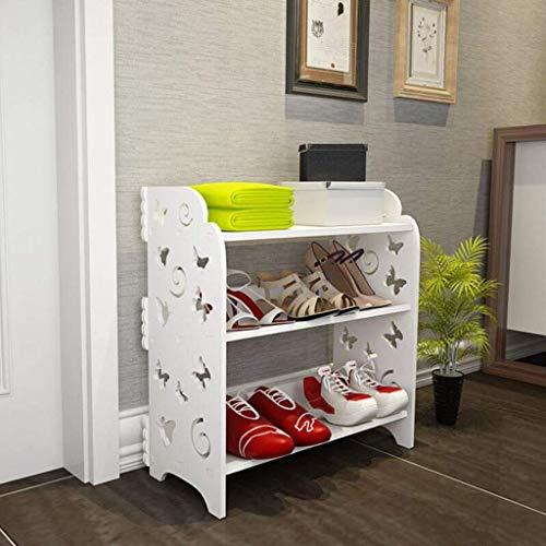 Estante de zapatos, Zapatos a prueba de polvo del gabinete WPC zapatero Banco de Nivel 3 zapatero del organizador del almacenaje de entrada, pasillo, dormitorio, sala de estar Cuarto de baño (Color: f