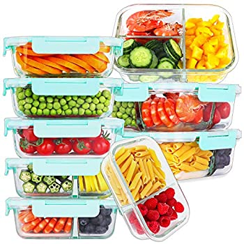 Bayco 9 Pack Glass Meal Prep Containers 3 & 2 & 1 Compartment Glass Food Storage Containers with Lids Airtight Glass Lunch Bento Boxes BPA-Free & Leak Proof  9 lids & 9 Containers