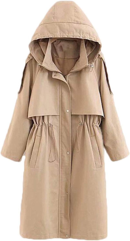 Autumn New Waist Drawstring Hooded Long Windbreaker Jacket Female Khaki (color   Khaki, Size   XXXL)