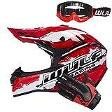 Wulfsport Off Road Pro casco da motocross, occhiali paraspruzzi+guanti da attacco, caschi da moto, rosso, casco L (59-60 cm) e L guanti (10 cm) e occhiali rossi